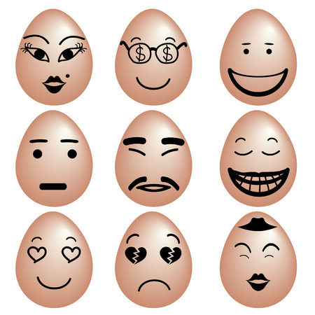winking: Icon set of funny eggs, Eggs with various emotion face by black color painting, Vector.