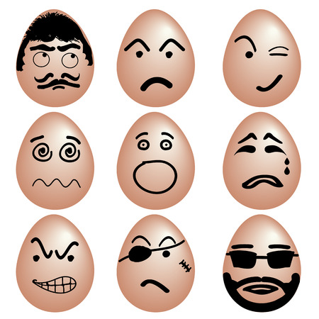cry icon: Icon set of funny eggs, Eggs with various emotion face by black color painting, Vector.