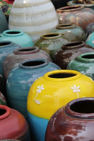 Closeup of colored jars