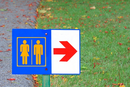 male and female toilet sign in public park  photo
