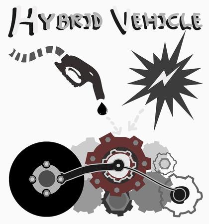 Illustration of hybrid vehicle symbol , energy concept   Illustration