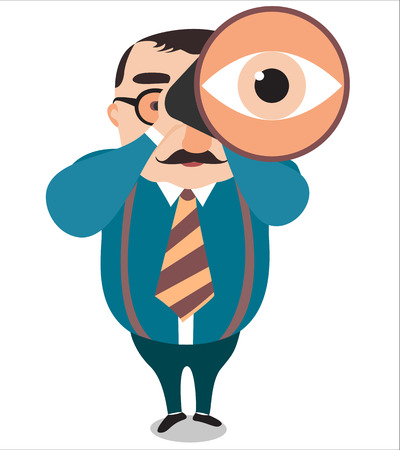 Illustration of a big boss with binoculars on vision concept, isolated on white background,Vector
