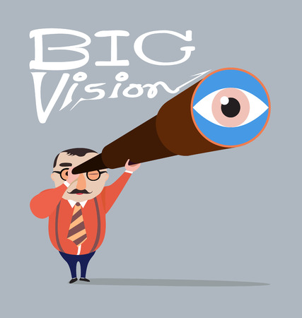 vision concept: Big boss with telescope ,Big vision concept