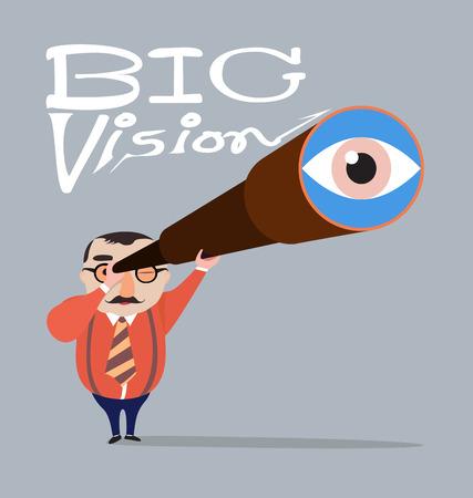 Grote baas met telescoop, Big visie concept Stockfoto - 34087203