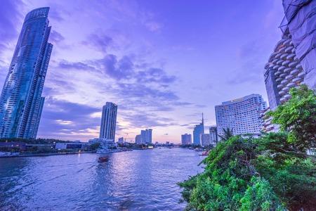 city park boat house: Silom on evening Stock Photo