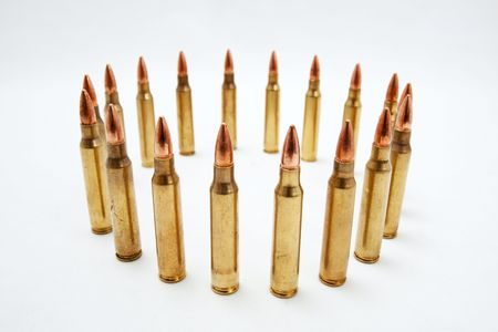 Close up image of bullets in a circular pattern.