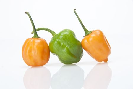 Close up of bell peppers on white background.  Stock Photo