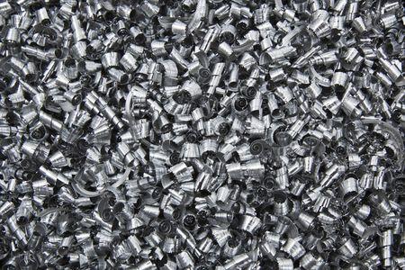 Close up of scrap metal chips.