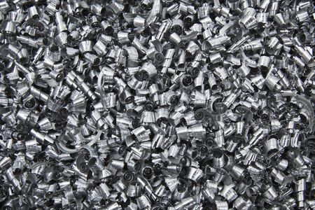shavings: Close up of scrap metal chips.