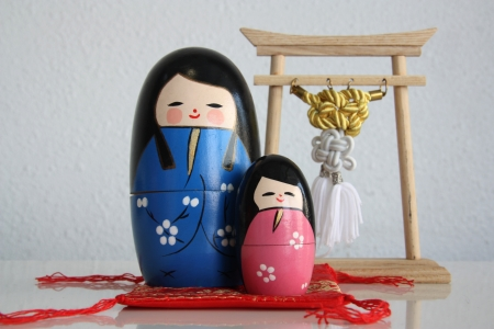 Doll kokeshi mother and daughter  Stock Photo - 17589485