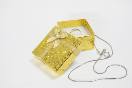 Gift box with rings and necklaces  Stock Photo