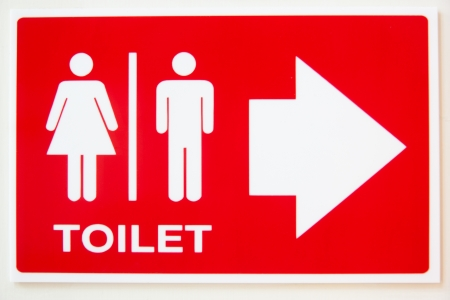 Red bathroom sign, toilet sign red.