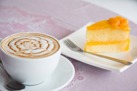 Coffee and orange cake  Stock Photo