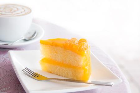 orange cake: Coffee and orange cake  Stock Photo