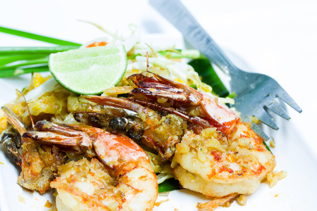 Thailand Food fried noodles with shrimp  Pad Thai   photo