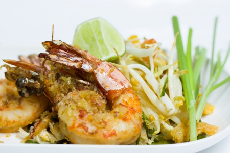 Thailand Food fried noodles with shrimp  Pad Thai   Stock Photo