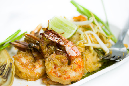 Thailand Food fried noodles with shrimp  Pad Thai   photo