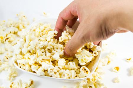 Popcorn on white Stock Photo