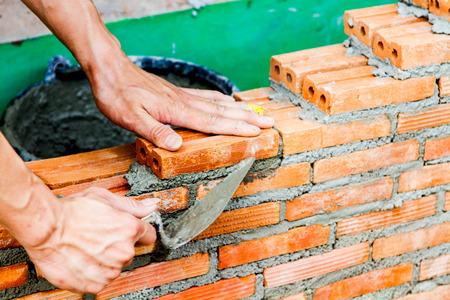 Construction using brick Stock Photo