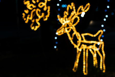 The decorative lamps to make a deer out of focus blur bokeh. Stock Photo