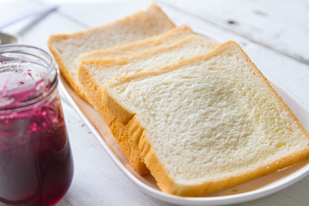Bread for breakfast and a blueberry jam made more delicious