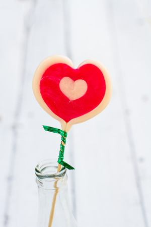 Candy hearts with loving and sweet. And the Valentine lovers. Stock Photo