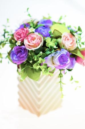 fake: Fake flowers with vase Stock Photo