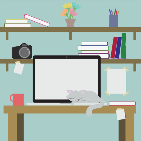Vector desk cluttered with books computers cameras and a cat sleeping on a background image and abstraction. Vector
