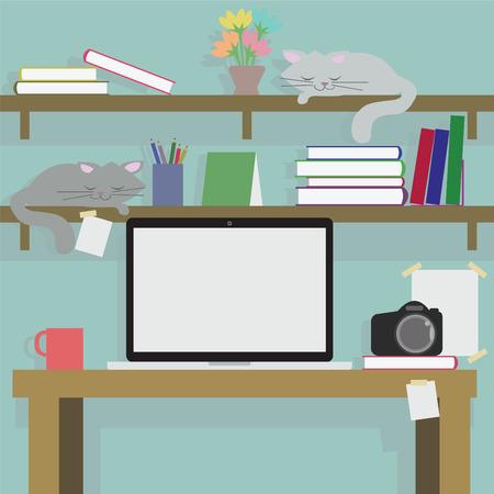 background image: Escritorio Vector estorbado con c�maras computadoras libros y un gato que duerme en una imagen de fondo y la abstracci�n.