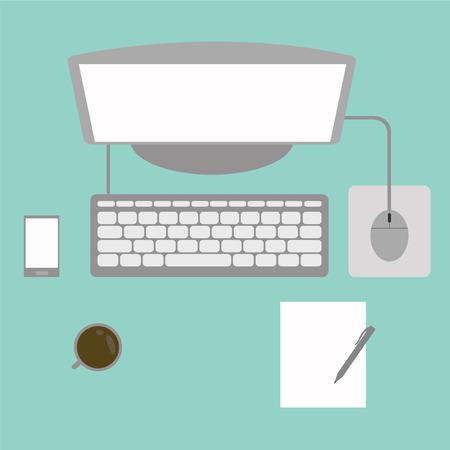 background image: Vector escritorio atestado de computadoras caf� y libros en una imagen de fondo y la abstracci�n.