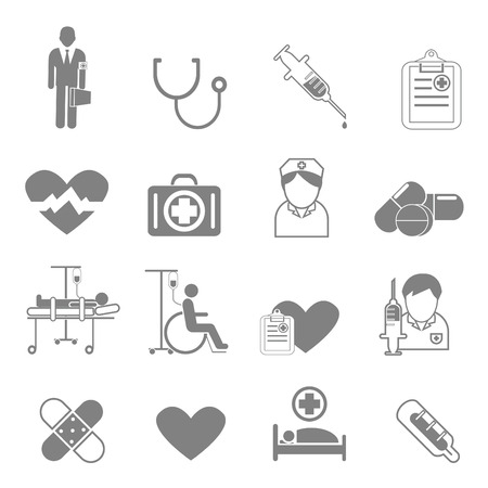 Vector icons and symbols medical care that can be used in the medical treatment. Illustration