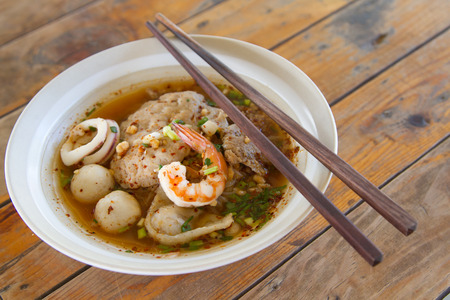 Noodle dishes are delicious with meatballs beef pork fish and shrimp are Thailand. Stock Photo