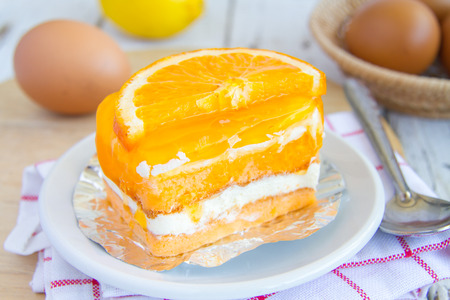 Orange cake is delicious and yummy.
