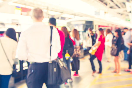 railroad station platform: Travel by train and modern fleet with a blur of color and vintage. Stock Photo