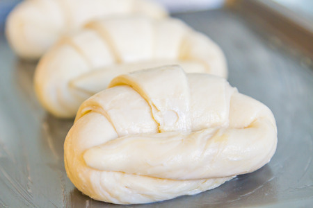 Flour and croissants are not yet ready to bake and roast until fragrant and delicious Stock Photo