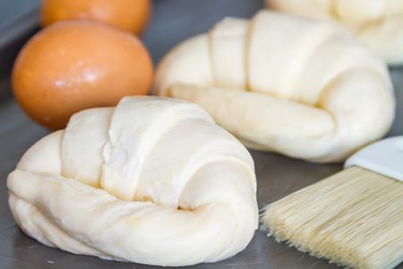 not ready: Flour and croissants are not yet ready to bake and roast until fragrant and delicious.