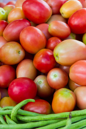 beneficial: Tomatoes and beans that are beneficial to health.