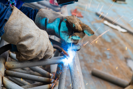 tool and die: Welding steel to the construction industry. Stock Photo