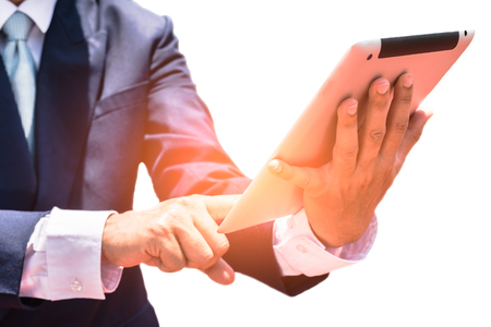 Businessmen hold hands for work and white backgrounds Stock Photo