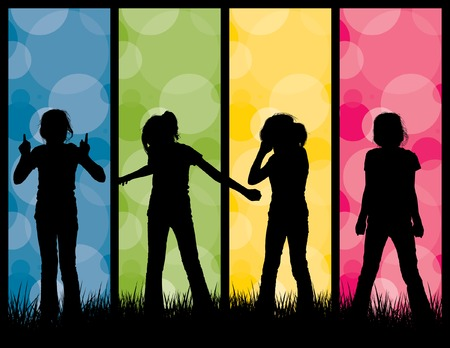 Kids Silhouette Illustration