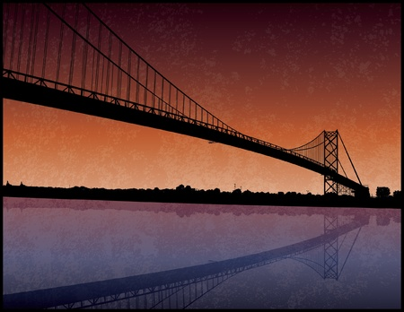 michigan: Ambassador Bridge Silhouette