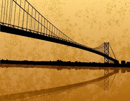 michigan: Ambassador Bridge Silhouette