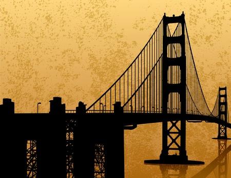 иллюстрация: Golden Gate Bridge Силуэт Иллюстрация