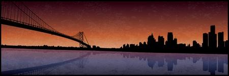 Silhouette Detroit Banque d'images - 12157812
