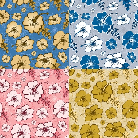 Hibiscus Seamless Pattern Illustration