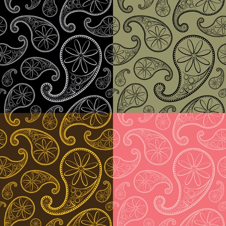 Paisley Seamless Patterns Vector