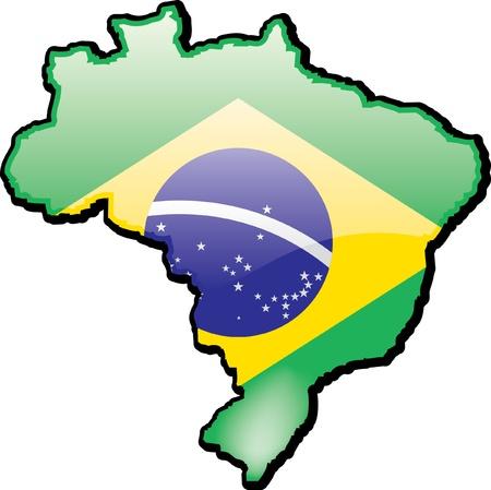 Artisitc kaart van Brazilië Stock Illustratie