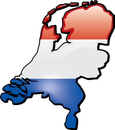 the netherlands: Artisitc Map Of Netherlands Illustration