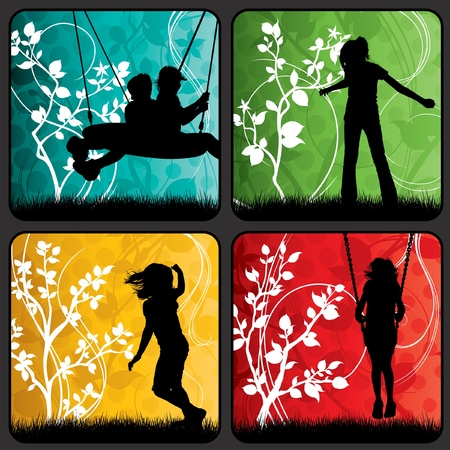 Silhouettes Enfants Banque d'images - 12474800