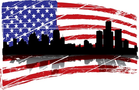 star spangled: Detroit Michigan Illustration